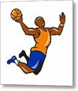 Basketball Player Dunking Ball Cartoon Metal Print by Aloysius Patrimonio