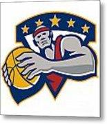 Basketball Player Holding Ball Star Retro Metal Print by Aloysius Patrimonio