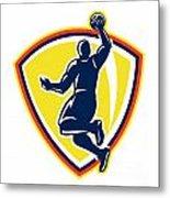 Basketballer Dunking Rebounding Ball Retro Metal Print by Aloysius Patrimonio