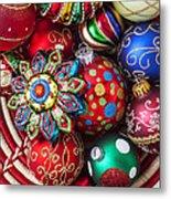 Basketful Of Christmas Ornaments Metal Print by Garry Gay