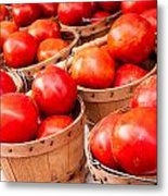 Baskets Of Tomatoes At A Farmers Market Metal Print by Teri Virbickis