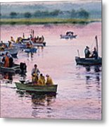 Bass River Scallopers Metal Print by Karol Wyckoff