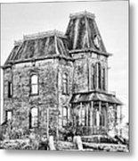 Bates Motel Haunted House Black And White Metal Print by Paul W Sharpe Aka Wizard of Wonders