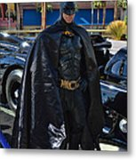 Batmobile And Batman Metal Print by Tommy Anderson