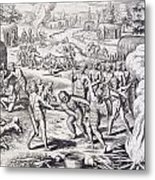 Battle Between Tuppin Tribes Metal Print by Theodore De Bry