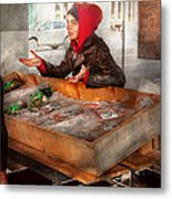 Bazaar - I Sell Fish  Metal Print by Mike Savad