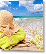 Beach Bag With Sun Hat Metal Print by Amanda And Christopher Elwell