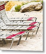Beach Chairs Metal Print by Bernard  Barcos