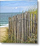 Beach Fence Metal Print by Elena Elisseeva