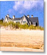 Beach House In The Hamptons Metal Print by Mark E Tisdale