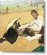 Beach Scene Little Girl Having Her Hair Combed By Her Nanny Metal Print by Edgar Degas