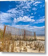 Beach Under Blue Skies Metal Print by Debra and Dave Vanderlaan