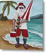Beachen Santa Metal Print by Darice Machel McGuire