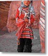 Beautiful Girl At Petra Jordan Metal Print by Eva Kaufman