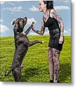 Beautiful Woman And Pit Bull Metal Print by Rob Byron