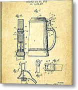 Beer Stein Patent From 1914 -vintage Metal Print by Aged Pixel