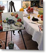 Behind The Scene - Eggplants And Fruits Metal Print by Becky Kim