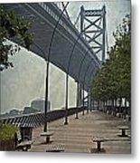 Ben Franklin Bridge And Pier Metal Print by Tom Gari Gallery-Three-Photography
