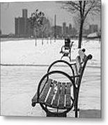 Bench At Belle Isle With Detroit I Metal Print by John McGraw