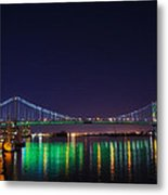 Benjamin Franklin Bridge At Night From Penn's Landing Metal Print by Bill Cannon