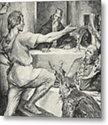 Beowulf Replies Haughtily To Hunferth Metal Print by John Henry Frederick Bacon
