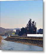Bethlehem Steel And The Lehigh River Metal Print by Bill Cannon