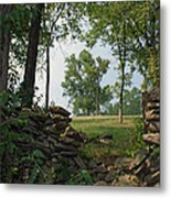 Beyond The Rock Fence Metal Print by Roger Potts