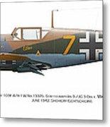 Bf 109f-4/r-1 W.nr.13325. Staffelkapitan 9./jg 3 Oblt. Viktor Bauer. June 1942. Shchigry Metal Print by Vladimir Kamsky