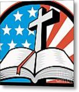 Bible With Cross American Stars Stripes Metal Print by Aloysius Patrimonio