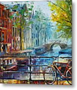 Bicycle In Amsterdam Metal Print by Leonid Afremov