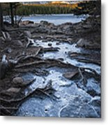 Bierstadt Lake Early Ice Metal Print by Michael Van Beber