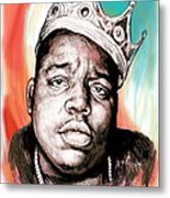 Biggie Smalls Colour Drawing Art Poster Metal Print by Kim Wang