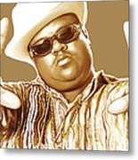 Biggie Smalls Stylised Pop Art Colour Drawing Poster Metal Print by Kim Wang