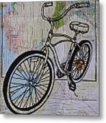 Bike 6 On Map Metal Print by William Cauthern