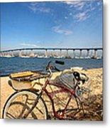 Bike And A Brdige Metal Print by Peter Tellone