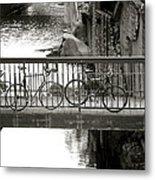 Bikes Over Waller Creek Metal Print by Kristina Deane