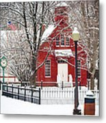 Billie Creek Village Winter Scene Metal Print by Virginia Folkman