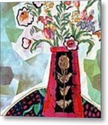 Bird Blossom Vase Metal Print by Diane Fine