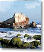 Bird Sentry Rock At Dana Point Harbor Metal Print by Elaine Plesser