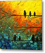 Birds Of A Feather Original Whimsical Painting Metal Print by Megan Duncanson