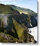Bixby Bridge Near Big Sur On Highway One In California Metal Print by Artist and Photographer Laura Wrede