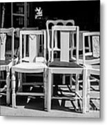 Black And White Chairs Metal Print by Sonja Quintero