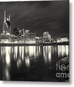 Black And White Image Of Nashville Tn Skyline  Metal Print by Jeremy Holmes