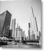 Black And White Picture Of Downtown Chicago Metal Print by Paul Velgos