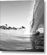Black And White Santa Cruz Wave Metal Print by Paul Topp