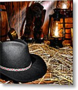 Black Cowboy Hat In An Old Barn Metal Print by Olivier Le Queinec