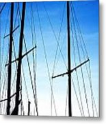 Black N Blue Hour Of Sailing Ships Metal Print by Rosemarie E Seppala