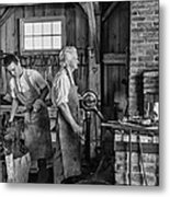 Blacksmith And Apprentice 2 Bw Metal Print by Steve Harrington