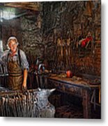 Blacksmith - Working The Forge  Metal Print by Mike Savad