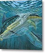 Blue And Mahi Mahi Underwater Metal Print by Terry Fox